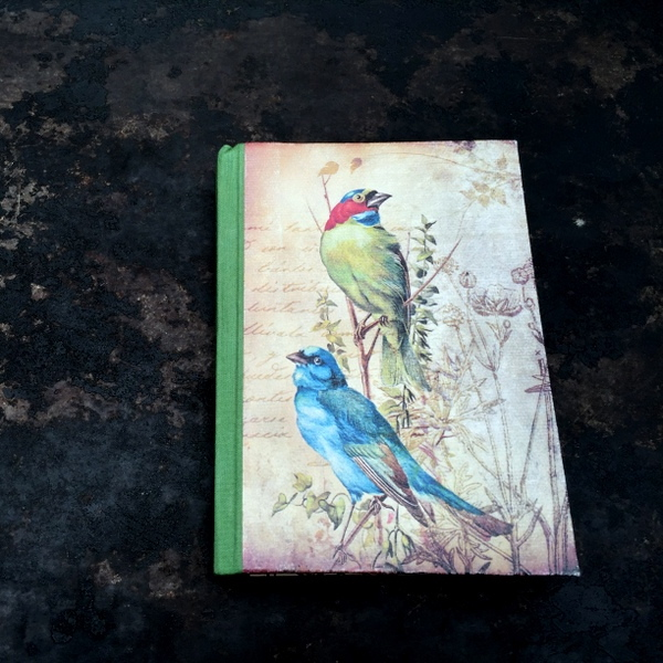 Fern Green Handbinded Journal with Twin Birds1