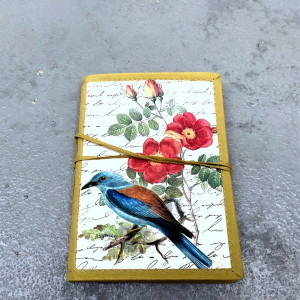 Olive Green Handbinded Journal with Sapphire Feathered Bird1